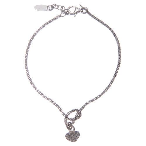 Amen-Armband aus Silber 925 Knoten mit Herzen 2