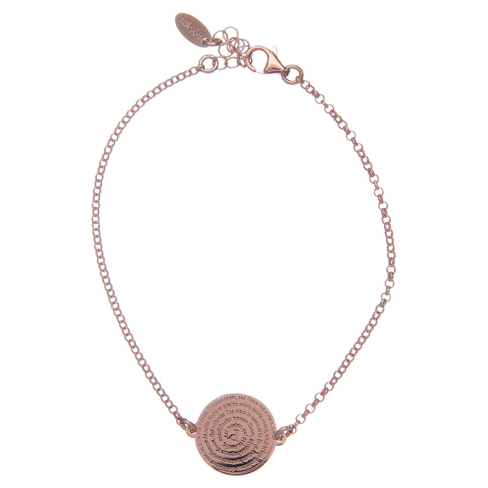 Bracelet Amen en argent 925 rosé Notre Père Latin 4