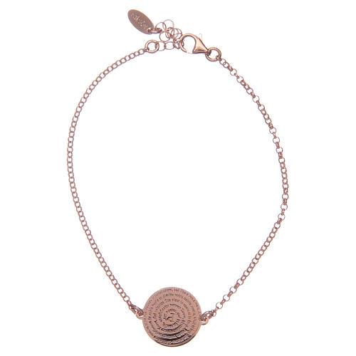 Bracelet Amen en argent 925 rosé Notre Père Latin 1