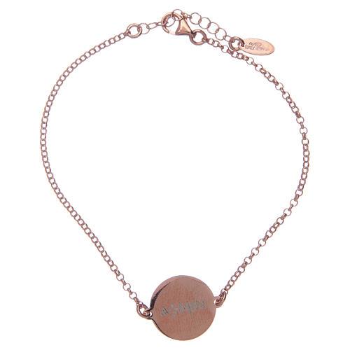 Bracelet Amen en argent 925 rosé Notre Père Latin 2