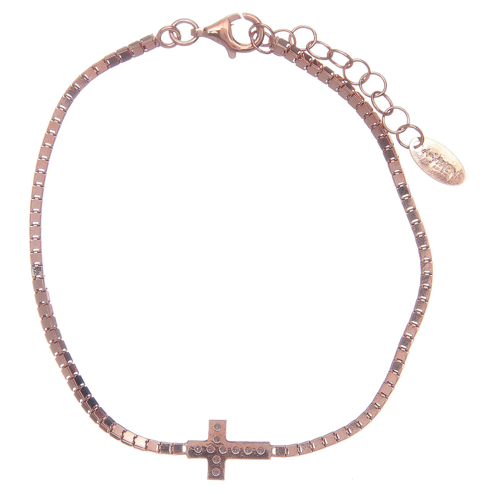 Bracciale Amen in Argento 925 Rosé croce 4