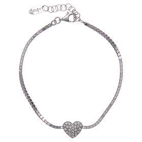 AMEN bracelets: Amen bracelet in 925 sterling silver with zirconate heart