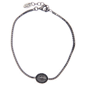 AMEN bracelets: Amen bracelet in 925 sterling silver with Our Lady of Miracles medal black
