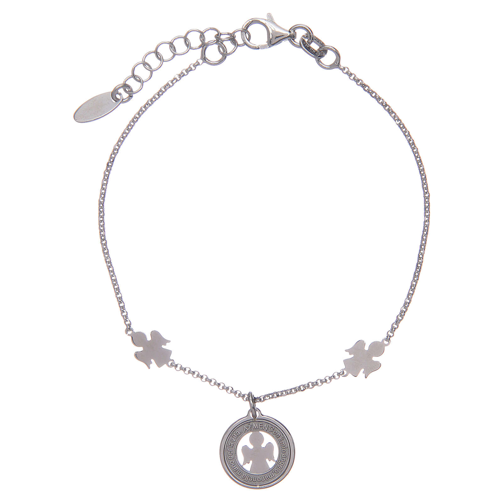 Amen bracelet in silver with angels and medal 4