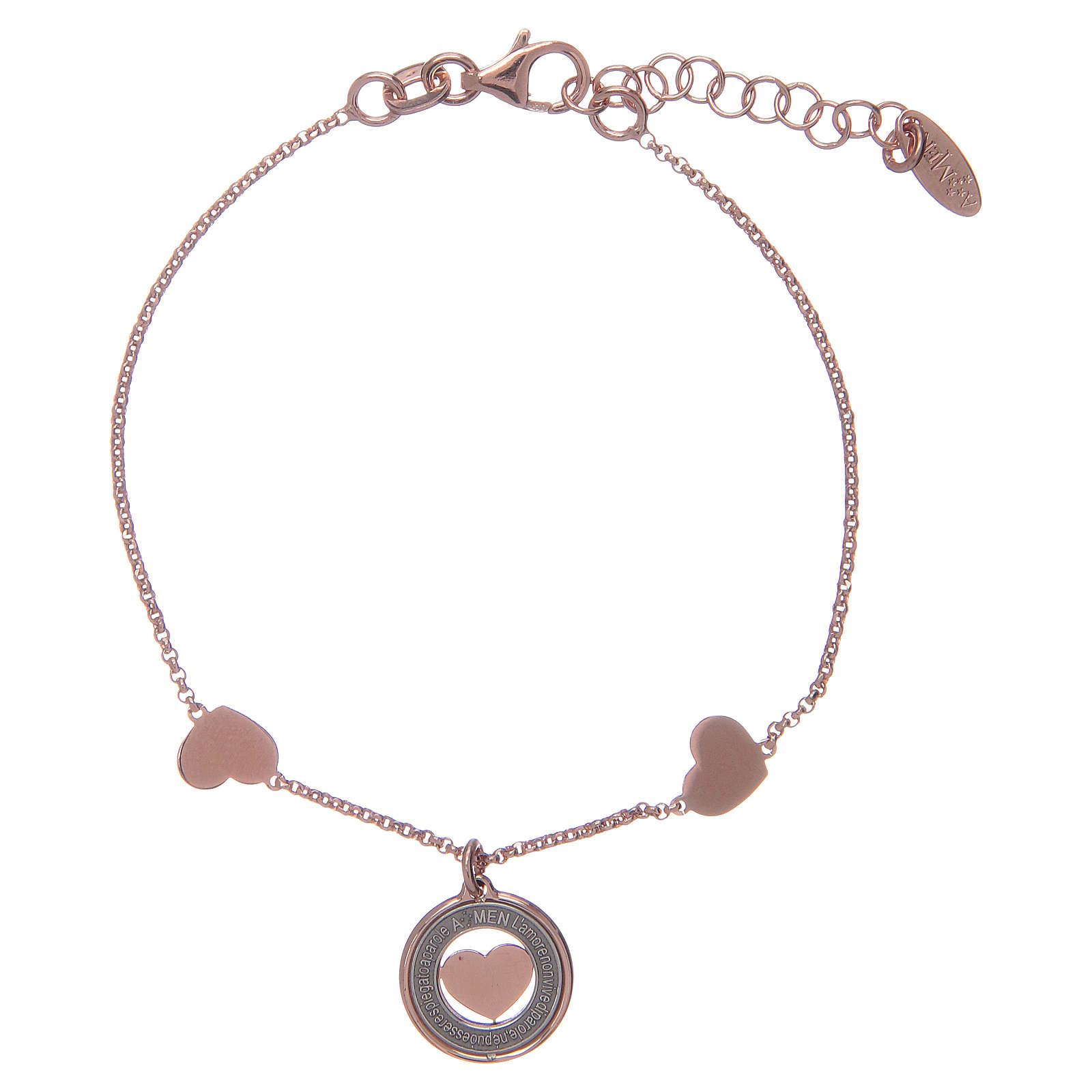 Amen bracelet in pink silver with hearts 4