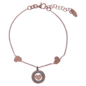 Amen bracelet in pink silver with hearts s2