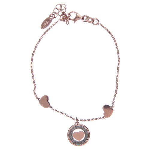 Amen bracelet in pink silver with hearts 1