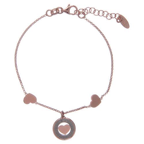 Amen bracelet in pink silver with hearts 2