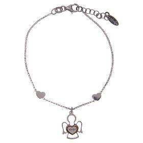 Bracelet Amen en argent deux coeurs et ange s1