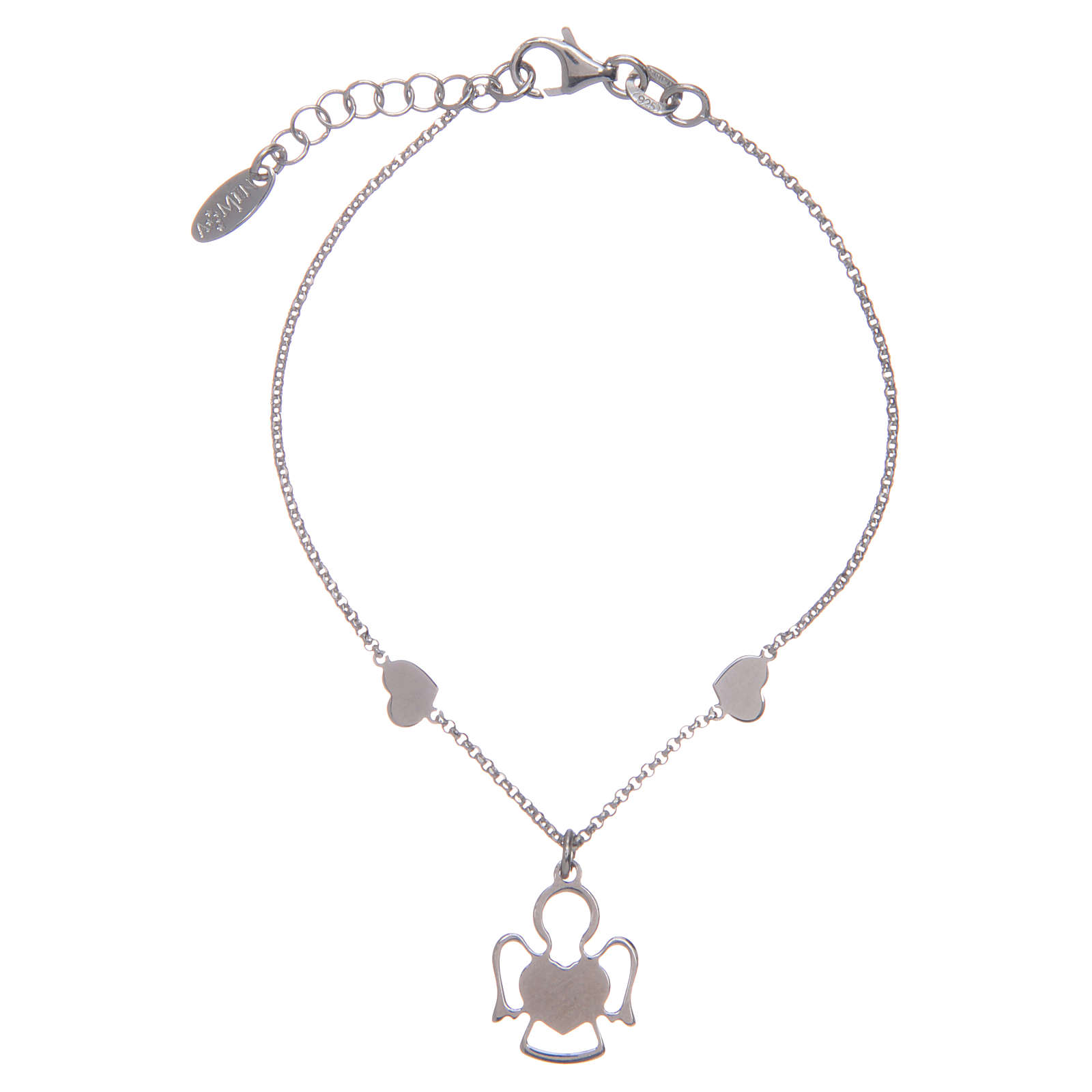 Amen bracelet in silver with 2 hearts and an angel 4
