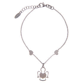 Amen bracelet in silver with 2 hearts and an angel s2