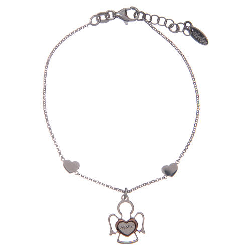 Amen bracelet in silver with 2 hearts and an angel 1