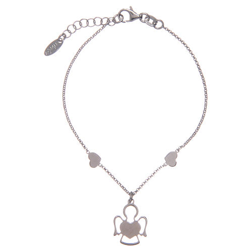 Amen bracelet in silver with 2 hearts and an angel 2