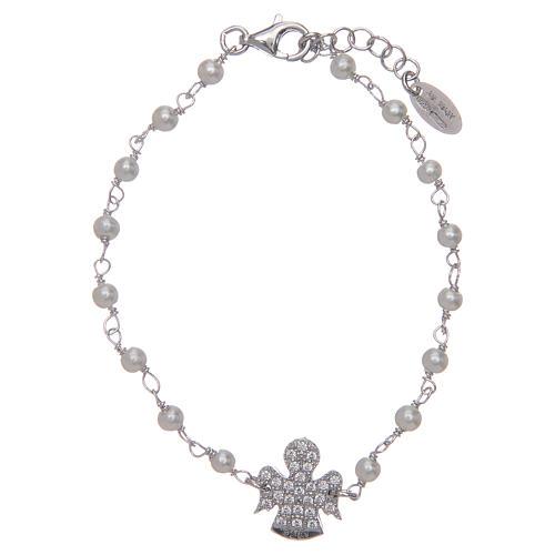 Pulsera AMEN Plata perlas y circones 1