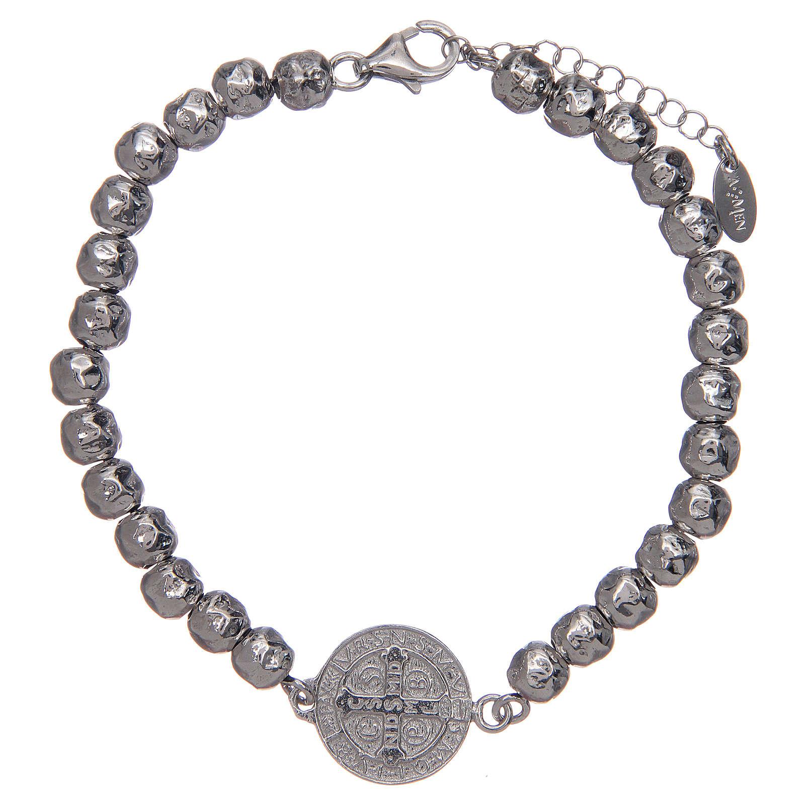 Saint Benedict men's bracelet in silver, AMEN 4