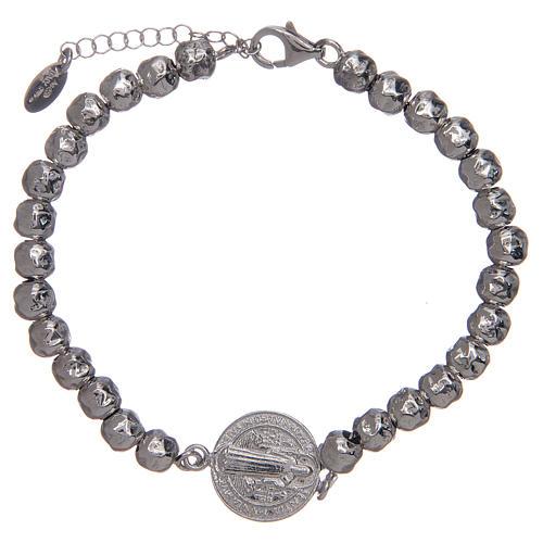 Saint Benedict men's bracelet in silver, AMEN 1