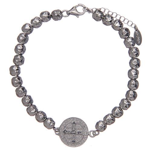 Saint Benedict men's bracelet in silver, AMEN 2