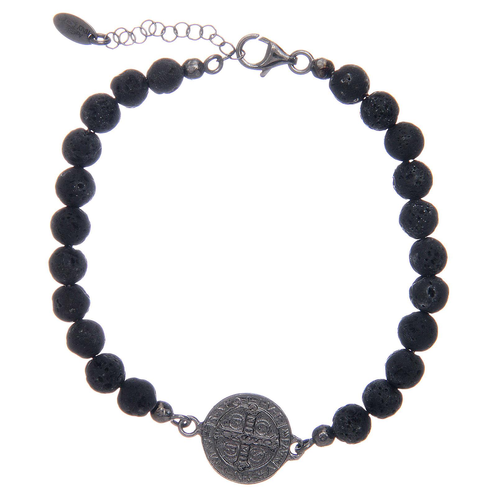 Bracelet Amen pierre de lave homme St Benoît 5 mm 4