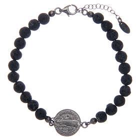 Bracelet Amen pierre de lave homme St Benoît 5 mm s1