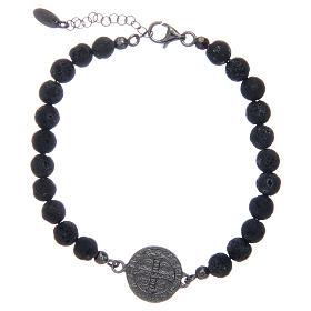 Bracelet Amen pierre de lave homme St Benoît 5 mm s2