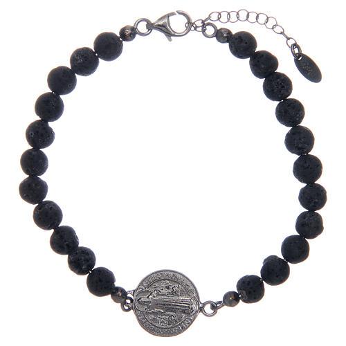 Bracelet Amen pierre de lave homme St Benoît 5 mm 1