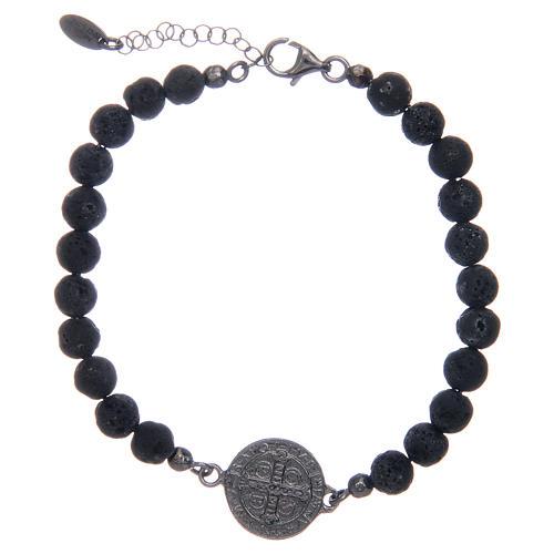 Bracelet Amen pierre de lave homme St Benoît 5 mm 2