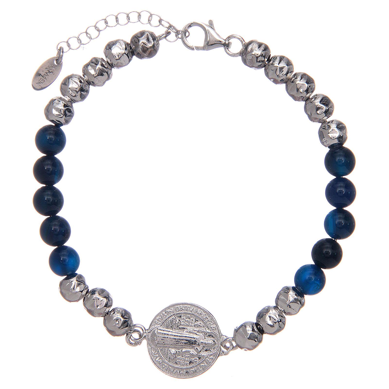 Bracelet Amen argent et agate St Benoît homme 4