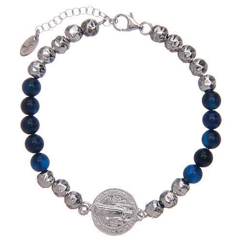Bracelet Amen argent et agate St Benoît homme 1