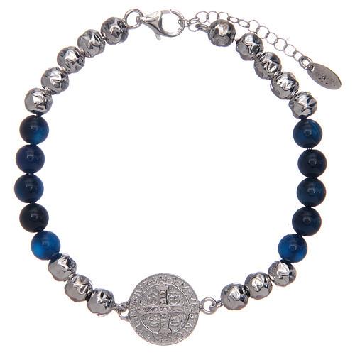 Bracelet Amen argent et agate St Benoît homme 2