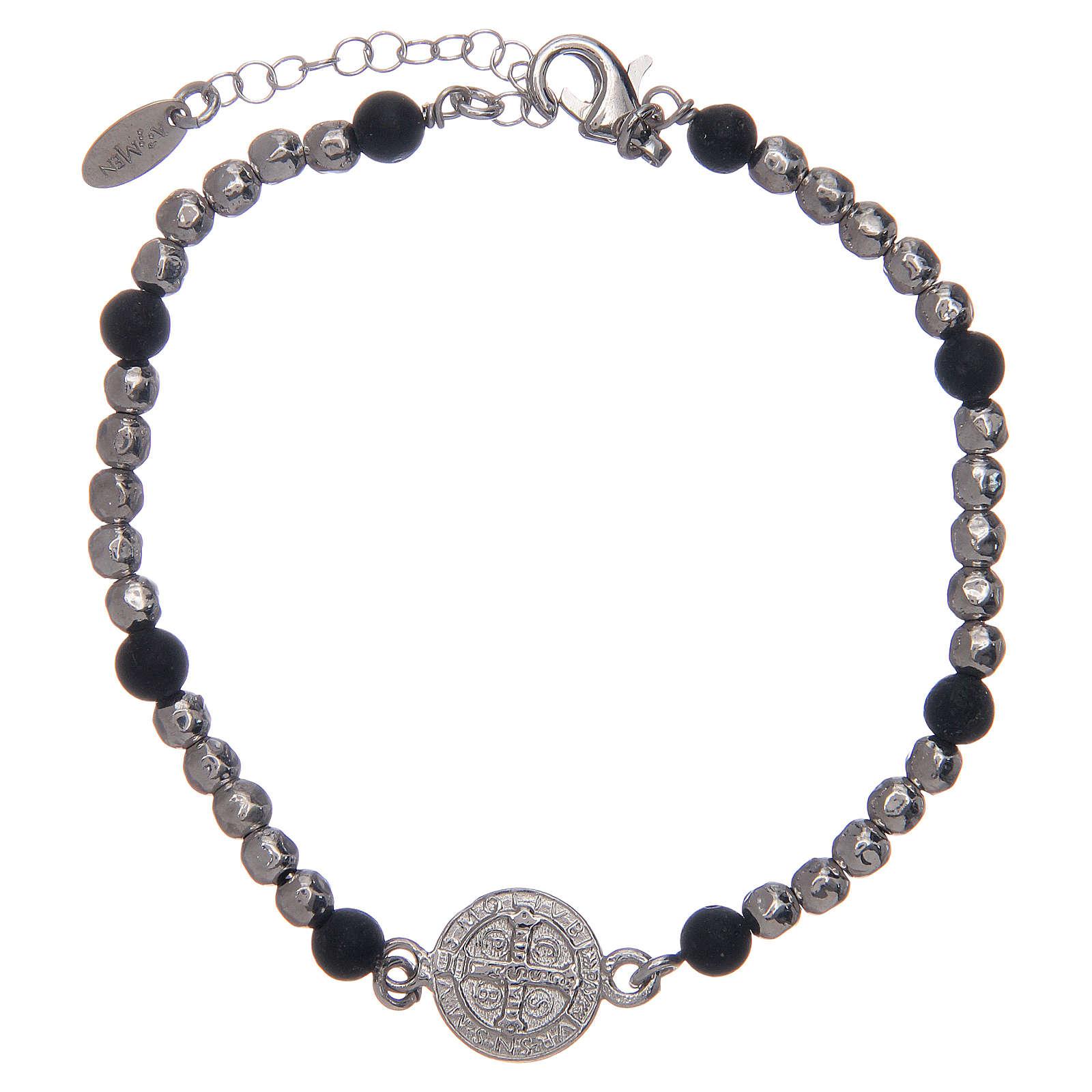 Bracelet Amen argent pierre de lave St Benoît homme 4