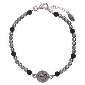 Bracelet Amen argent pierre de lave St Benoît homme s1