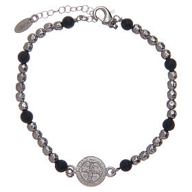 Bracelet Amen argent pierre de lave St Benoît homme s2