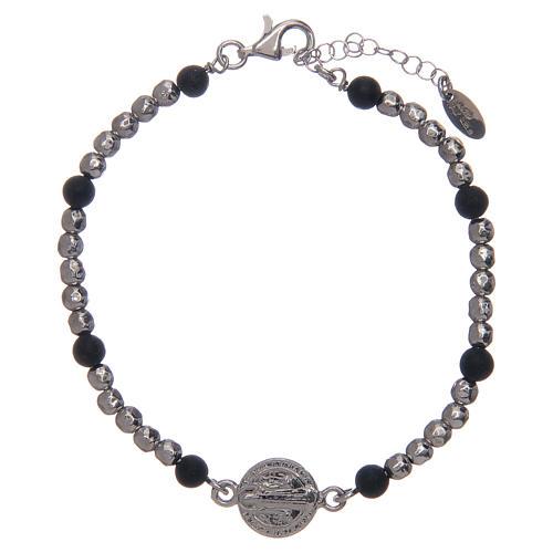 Bracelet Amen argent pierre de lave St Benoît homme 1