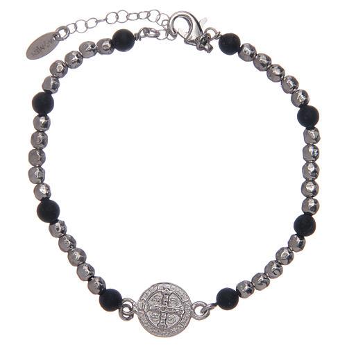 Bracelet Amen argent pierre de lave St Benoît homme 2
