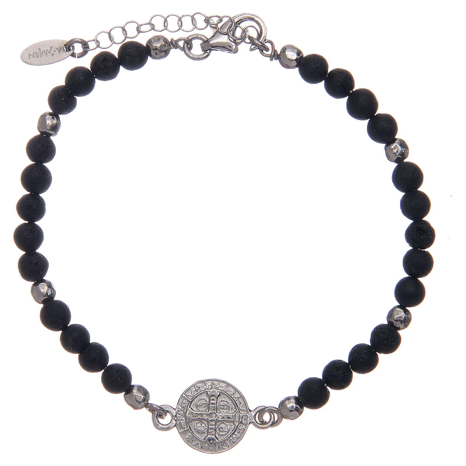 Bracelet Amen médaille St Benoît pierre de lave homme 4