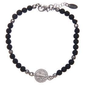 Bracelet Amen médaille St Benoît pierre de lave homme s1
