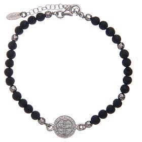 Bracelet Amen médaille St Benoît pierre de lave homme s2