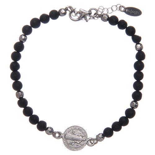 Bracelet Amen médaille St Benoît pierre de lave homme 1