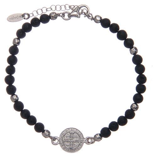 Bracelet Amen médaille St Benoît pierre de lave homme 2