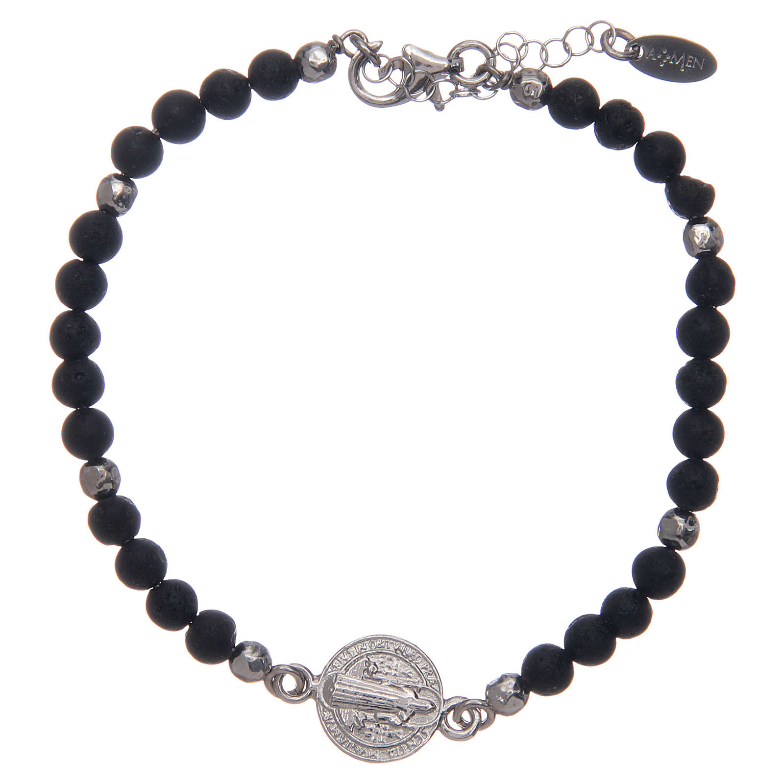 Saint Benedict men's bracelet with lava stone beads, AMEN 4