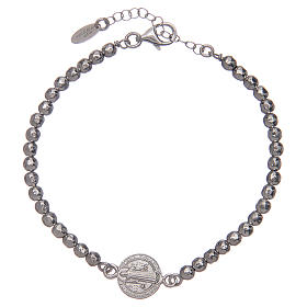 Saint Benedict men's bracelet in silver s1
