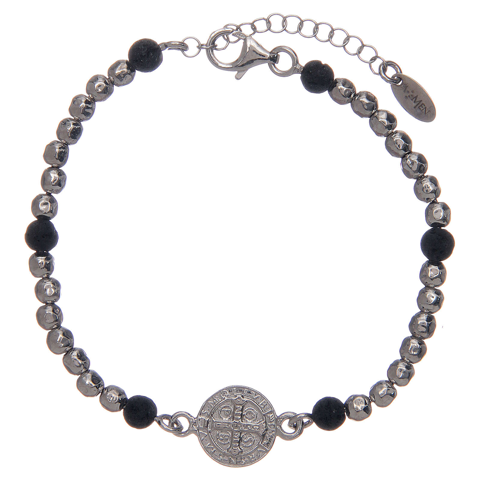 Saint Benedict medal bracelet with silver and lava stone beads 4