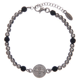 Saint Benedict medal bracelet with silver and lava stone beads s2