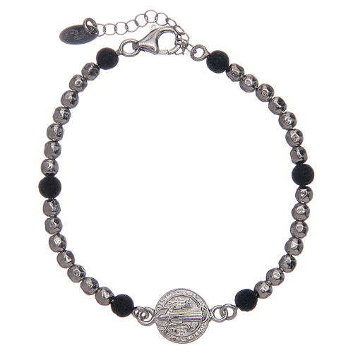 Saint Benedict medal bracelet with silver and lava stone beads 1