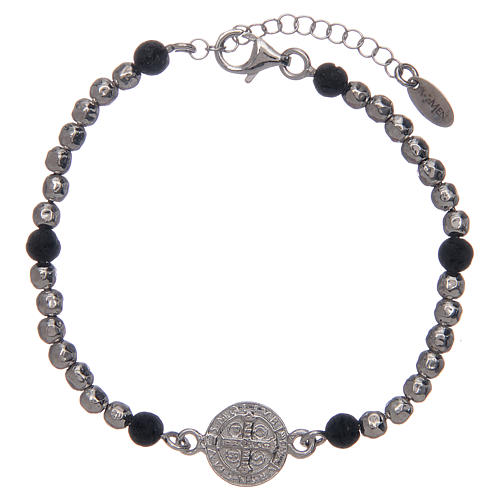 Saint Benedict medal bracelet with silver and lava stone beads 2