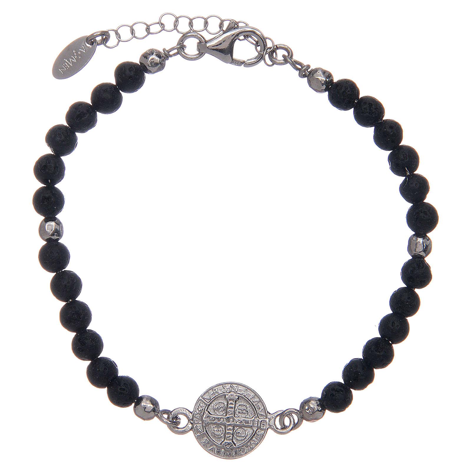 Bracelet Amen pierre de lave 4 mm et médaille St Benoît 4