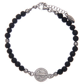 Bracelet Amen pierre de lave 4 mm et médaille St Benoît s1