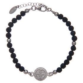 Bracelet Amen pierre de lave 4 mm et médaille St Benoît s2
