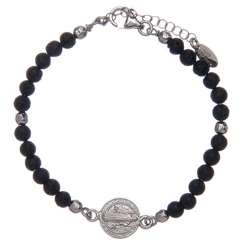 Bracelet Amen pierre de lave 4 mm et médaille St Benoît 1