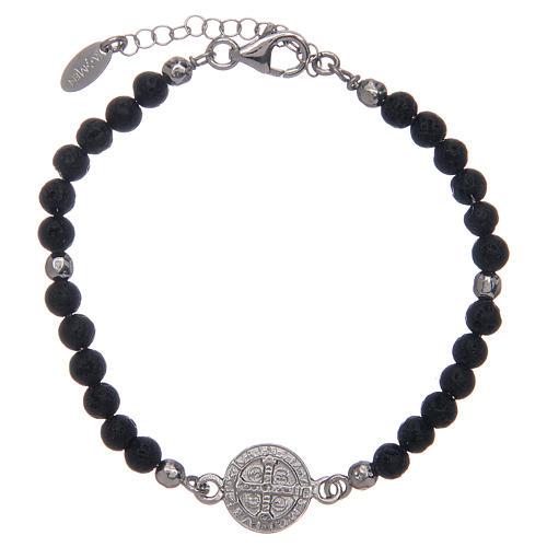 Bracelet Amen pierre de lave 4 mm et médaille St Benoît 2